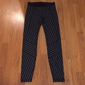 Gap Fit Black/Gray Striped Athletic Leggings